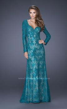 Picture of: Lace Prom Gown with V Neckline and Sheer Lace Sleeves, Style: 19893, Main Picture