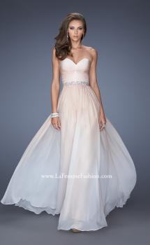 Picture of: Long Ombre Prom Dress with Twisted Gathered Bodice in Nude, Style: 19897, Main Picture