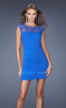 Picture of: Jersey Cocktail Dress with Cap Sleeves and Sequined Lace in Blue, Style: 19900, Main Picture