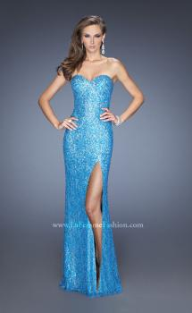 Picture of: Sequin and Lace Prom Dress with Side Leg Slit in Blue, Style: 19901, Main Picture