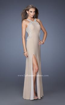 Picture of: Fitted Jersey Prom Dress with Embellished Neckline in Nude, Style: 19908, Main Picture