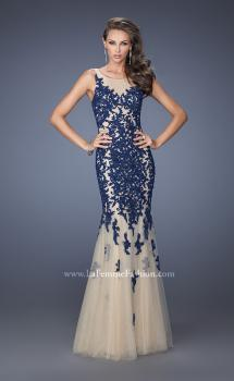 Picture of: Long Lace Mermaid Dress with Tulle Skirt and Lace in Blue, Style: 19916, Main Picture