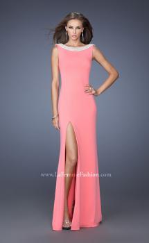 Picture of: Boat Neck Jersey Prom Dress with Side Slit and Pearls, Style: 19917, Main Picture
