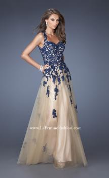 Picture of: Tulle Ball Gown with Zippered Pockets and Lace Bodice in Blue, Style: 19922, Main Picture