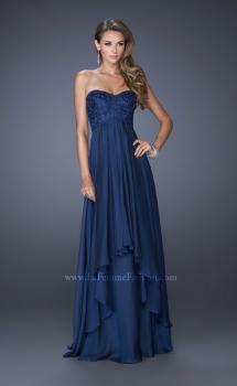 Picture of: Long Strapless Prom Dress with Tiered Chiffon Skirt, Style: 19925, Main Picture