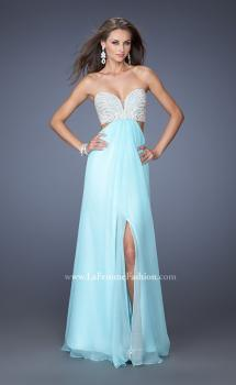Picture of: Embellished Long Prom Dress with Center Slit in Blue, Style: 19927, Main Picture