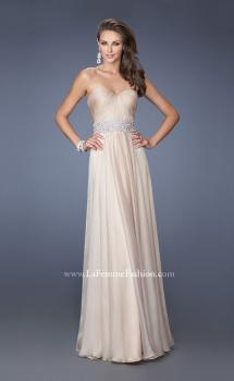 Picture of: Long Strapless Chiffon Gown with Vintage Inspired Belt in Nude, Style: 19931, Main Picture