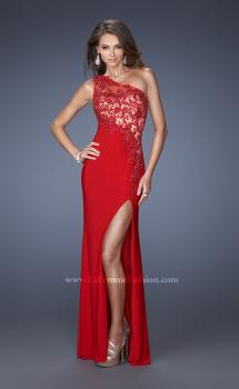 Picture of: One Shoulder Prom Gown with Jersey Skirt and Side Slit in Red, Style: 19934, Main Picture