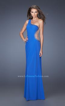Picture of: Long One Shoulder Dress with Cut Outs and Jewels in Blue, Style: 19935, Main Picture