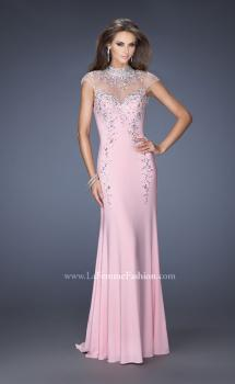 Picture of: Fitted Jersey Prom Dress with Cap Sleeves and Jewels in Pink, Style: 19942, Main Picture