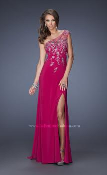 Picture of: One Shoulder Jersey Prom Dress with Side Leg Slit in Pink, Style: 19945, Main Picture