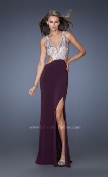 Picture of: Plunging V Neck Jersey Dress with Side Cut Outs and Beads in Purple, Style: 19951, Main Picture