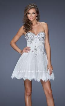 Picture of: Lace Cocktail Dress with Scalloped Lace Hem in White, Style: 19964, Main Picture