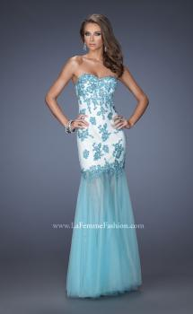 Picture of: Trumpet Style Prom Dress with Sheer Layered Tulle Skirt, Style: 19966, Main Picture