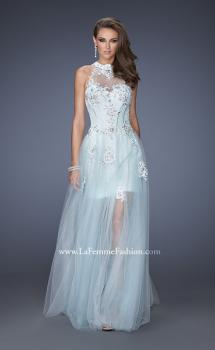 Picture of: High Neck Prom Dress with Floral and Jeweled Appliques, Style: 19970, Main Picture