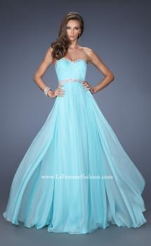 Picture of: Long Chiffon Prom Gown with iridescent stones and pearls in Blue, Style: 19987, Main Picture