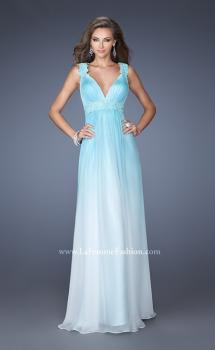 Picture of: Ombre Dyed Prom Dress with Pleated V Neck Bodice, Style: 19988, Main Picture