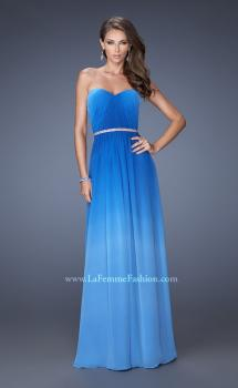 Picture of: Ombre Chiffon Dress with Jeweled Belt and Open Back in Blue, Style: 19989, Main Picture