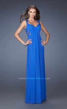 Picture of: Long Prom Dress with Front and Back Lace Detailing in Blue, Style: 19993, Main Picture