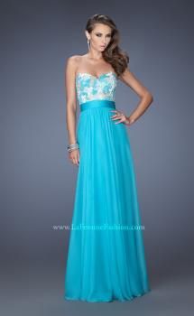 Picture of: Strapless Chiffon Gown with Multi Colored Lace Bodice, Style: 20001, Main Picture