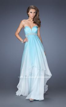 Picture of: Ombre Dyed Long Prom Gown with Plunging Neckline, Style: 20005, Main Picture