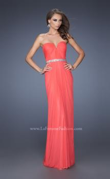 Picture of: Strapless Net Jersey Dress with Iridescent Belt in Orange, Style: 20009, Main Picture