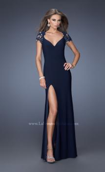 Picture of: Fitted Jersey Prom Dress with Side Leg Slit and V Neck, Style: 20011, Main Picture