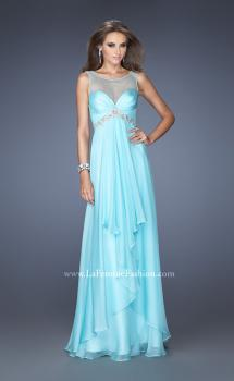 Picture of: Chiffon Prom Gown with Tiered Gathered Skirt and Belt, Style: 20026, Main Picture
