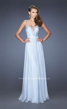 Picture of: Long Vintage Inspired Prom Gown with Beads and Jewels in Blue, Style: 20027, Main Picture