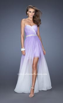 Picture of: Strapless Ombre Prom Dress with Ruching and Jewels in Purple, Style: 20028, Main Picture