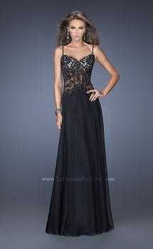 Picture of: Drop Waist Chiffon Prom Dress with Stone Adorned Lace, Style: 20031, Main Picture