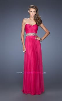 Picture of: Long Net Column Gown with Deco Style Belt and Jewels in Pink, Style: 20034, Main Picture