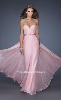 Picture of: Long Strapless Dress with Jeweled Lace and Bow Belt in Pink, Style: 20046, Main Picture