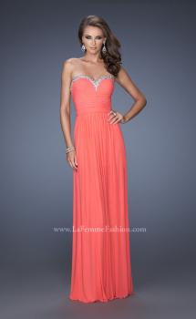 Picture of: Pleated Bodice Net Jersey Long Prom Gown, Style: 20048, Main Picture