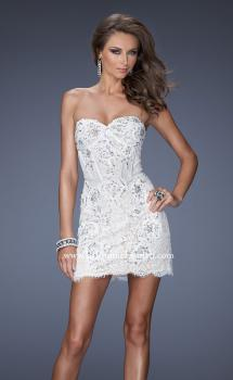 Picture of: Lace Mini Dress with Beaded Lace Detail, Style: 20054, Main Picture