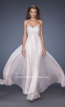 Picture of: Chiffon Prom Gown with Empire Waist and Jewels in Pink, Style: 20057, Main Picture