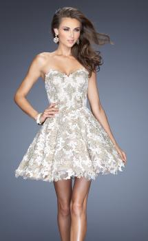 Picture of: Short A-line Cocktail Dress with Lace and a Full Skirt in Silver, Style: 20063, Main Picture