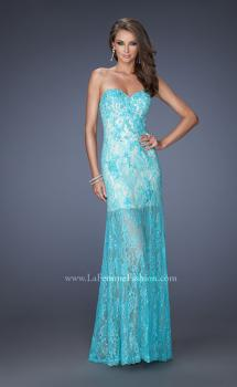 Picture of: Lace Prom Gown with Jewels and Sweetheart Neckline in Blue, Style: 20075, Main Picture
