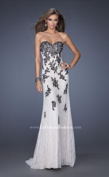 Picture of: Lace Column Prom Gown with Black Lace Appliques in White, Style: 20076, Main Picture