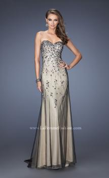 Picture of: Long Prom Dress with Beading and Jewels in Nude, Style: 20080, Main Picture