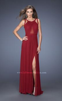 Picture of: Net Jersey Prom Dress with Criss Cross Straps in Red, Style: 20092, Main Picture