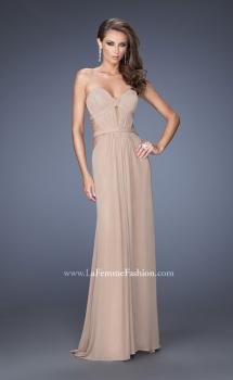 Picture of: Strapless Mini Dress with Floor Length Skirt Overlay in Nude, Style: 20094, Main Picture