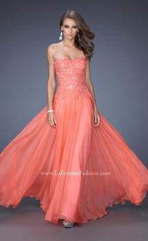 Picture of: Drop Waist Long Chiffon Prom Dress with Jeweled Lace, Style: 20108, Main Picture