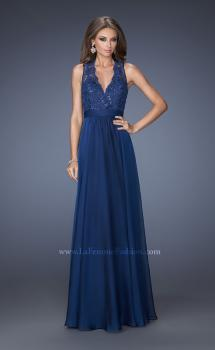 Picture of: V Neck Prom Dress with Gathered Skirt and Illusion Sleeves in Blue, Style: 20109, Main Picture