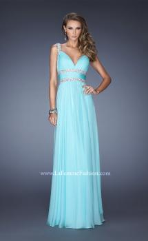 Picture of: Crinkle-Pleated Chiffon Prom Dress with Rhinestones in Blue, Style: 20110, Main Picture