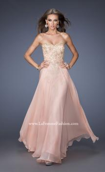 Picture of: Long Strapless Chiffon Prom Dress with Gold Jeweled Lace, Style: 20114, Main Picture