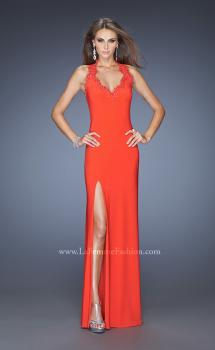 Picture of: Fitted Jersey Prom Gown with V Neckline and Jeweled Lace in Orange, Style: 20125, Main Picture