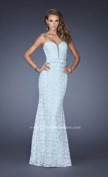 Picture of: Strapless White Lace Dress with Plunging Neckline in Blue, Style: 20138, Main Picture