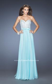 Picture of: Chiffon Prom Dress with Boat Neck and Cap Sleeves in Blue, Style: 20139, Main Picture