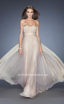 Picture of: Long Chiffon Prom Gown with Pleated Bodice and Beading in Nude, Style: 20140, Main Picture